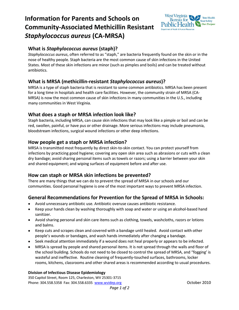 Information for Parents and Schools on Community-Associated