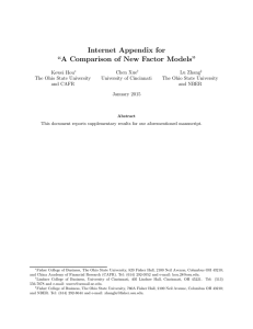 "Internet Appendix for ""A Comparison of New Factor Models"""