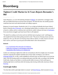 Tightest Credit Market in 16 Years Rejects Bernanke's Bid