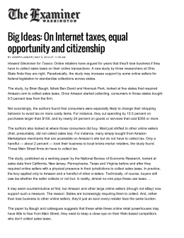 Big Ideas: On Internet taxes, equal opportunity and citizenship
