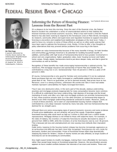 Informing the Future of Housing Finance: Lessons from the Recent Past 8/24/2010