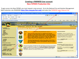 Creating a FAMWEB User account New FEPMIS Production Site
