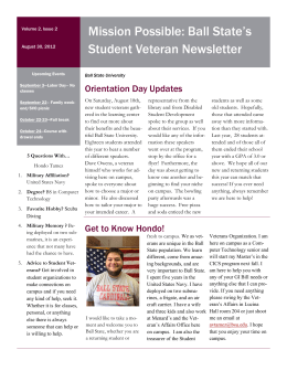 Mission Possible: Ball State's Student Veteran Newsletter Orientation Day Updates