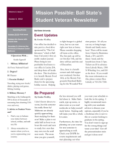Mission Possible: Ball State's Student Veteran Newsletter Event Updates By Emilee Wolfley