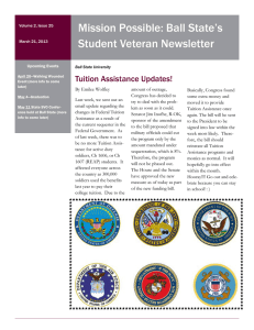 Mission Possible: Ball State's Student Veteran Newsletter Tuition Assistance Updates!