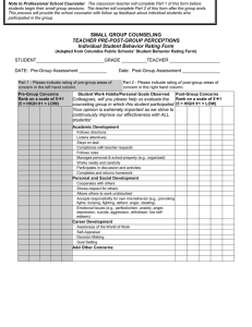 SMALL GROUP COUNSELING TEACHER PRE-POST-GROUP PERCEPTIONS Individual Student Behavior Rating Form