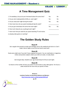 A Time Management Quiz  TIME MANAGEMENT – Handout 1 GRADE