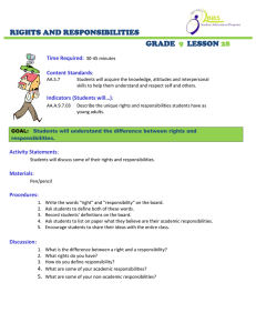 RIGHTS AND RESPONSIBILITIES GRADE LESSON
