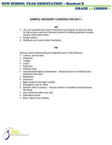 NEW SCHOOL YEAR ORIENTATION – Handout B  GRADE LESSON