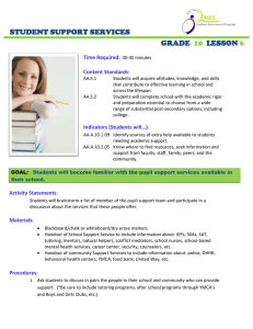 STUDENT SUPPORT SERVICES GRADE LESSON