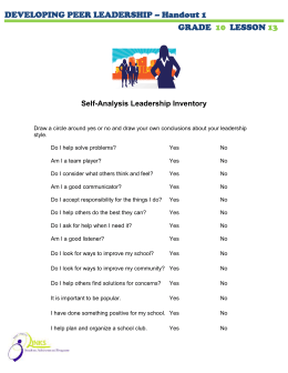 DEVELOPING PEER LEADERSHIP – Handout 1 GRADE LESSON