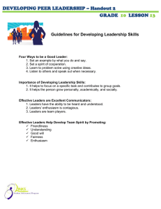 DEVELOPING PEER LEADERSHIP – Handout 2 GRADE LESSON
