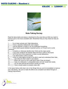 NOTE-TAKING – Handout 1 GRADE LESSON