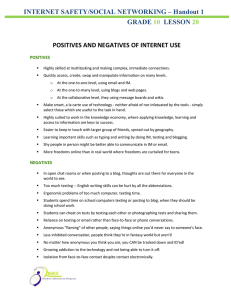 INTERNET SAFETY/SOCIAL NETWORKING – Handout 1 GRADE LESSON