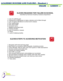 ACADEMIC SUCCESS AND FAILURE – Handout 1 GRADE LESSON