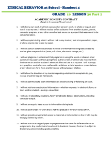 ETHICAL BEHAVIOR at School - Handout 4 GRADE LESSON