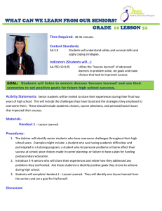 WHAT CAN WE LEARN FROM OUR SENIORS? GRADE LESSON