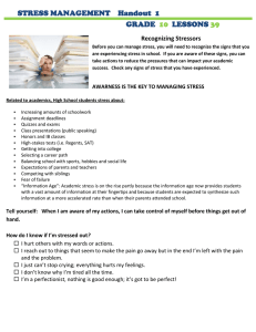 STRESS MANAGEMENT    Handout  1 GRADE LESSONS