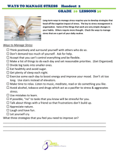 WAYS TO MANAGE STRESS    Handout  2 GRADE LESSONS