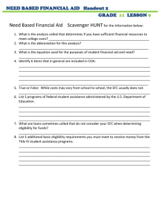 Need Based Financial Aid    Scavenger HUNT  GRADE