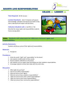 RIGHTS AND RESPONSIBLITIES GRADE LESSON