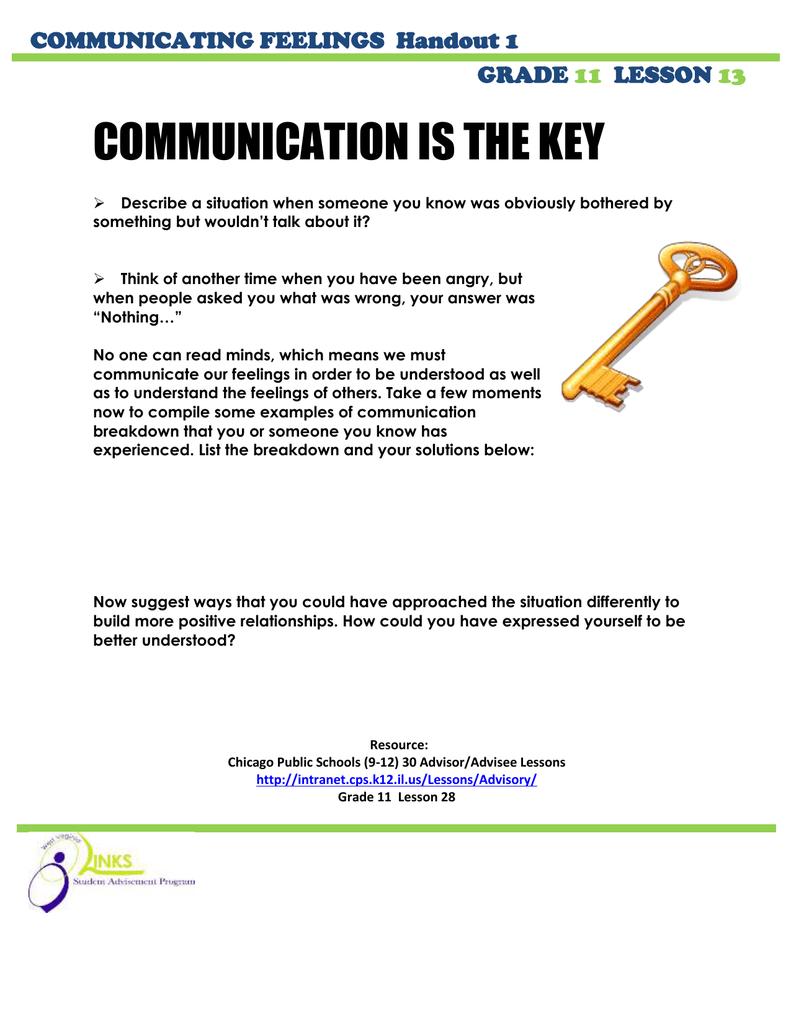 COMMUNICATION IS THE KEY COMMUNICATING FEELINGS Handout 1 GRADE