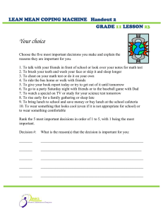 Your choice  LEAN MEAN COPING MACHINE   Handout 2 GRADE