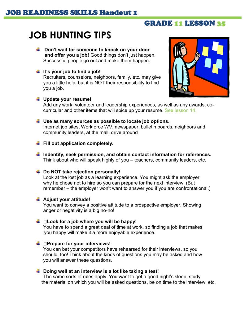 JOB HUNTING TIPS JOB READINESS SKILLS Handout 1 GRADE