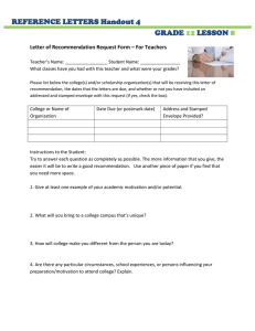REFERENCE LETTERS Handout 4 GRADE LESSON
