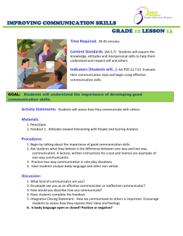 IMPROVING COMMUNICATION SKILLS GRADE LESSON