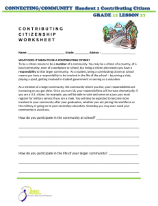 CONNECTING/COMMUNITY  Handout 1 Contributing Citizen GRADE LESSON