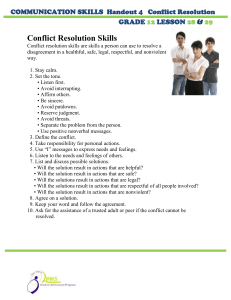 Conflict Resolution Skills  GRADE