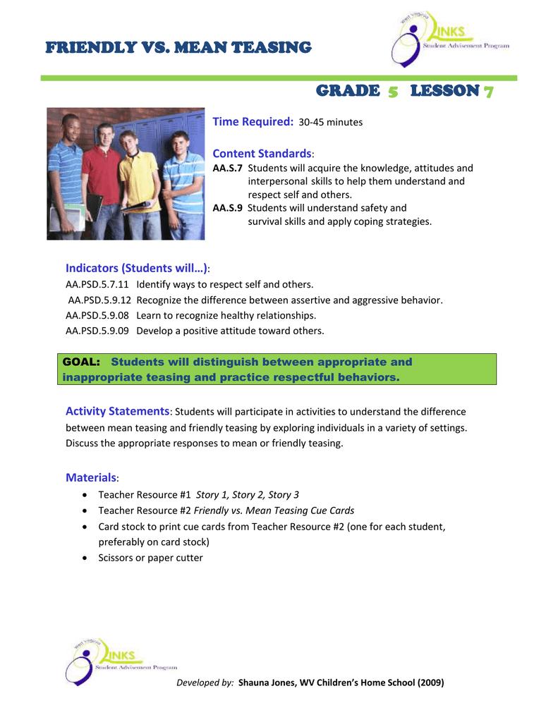 Worksheet Story For Grade 5 friendly vs mean teasing grade lesson lesson