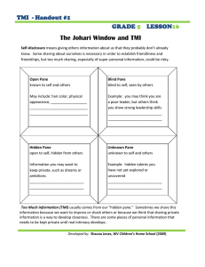 The Johari Window and TMI  TMI  - Handout #1 GRADE
