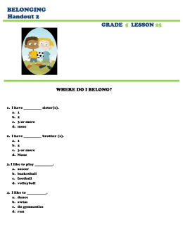 BELONGING Handout 2  GRADE