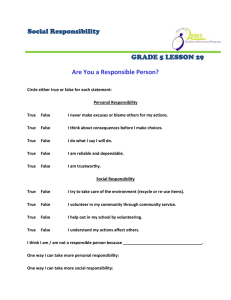 Social Responsibility GRADE 5 LESSON 29 Are You a Responsible Person?