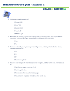 INTERNET SAFETY QUIZ – Handout   1 GRADE LESSON
