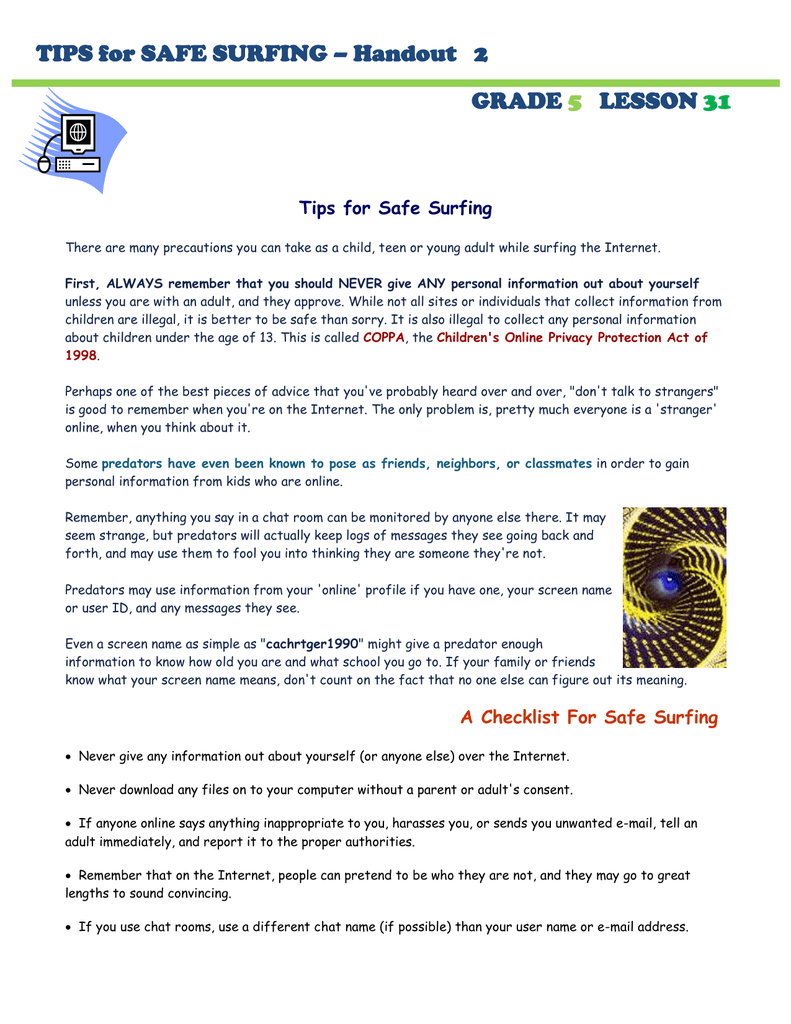 tips for safe surfing – handout 2 grade lesson