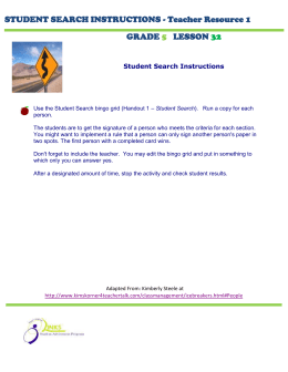 STUDENT SEARCH INSTRUCTIONS - Teacher Resource 1 GRADE LESSON