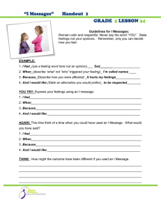 """I Messages""       Handout ... GRADE LESSON"