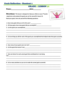 Goals Reflection - Handout 1 GRADE LESSON