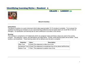 Identifying Learning Styles – Handout   2 GRADE LESSON
