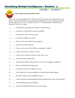 Identifying Multiple Intelligences – Handout   3 GRADE LESSON