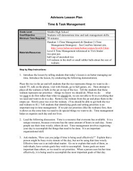 Advisors Lesson Plan  Time & Task Management