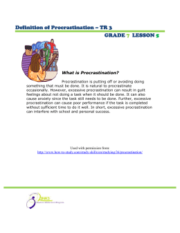 Definition of Procrastination – TR 3 GRADE LESSON