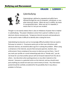 Cyberbullying  GRADE LESSON