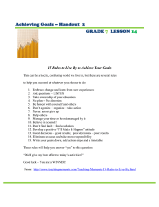 Achieving Goals – Handout  2 GRADE LESSON