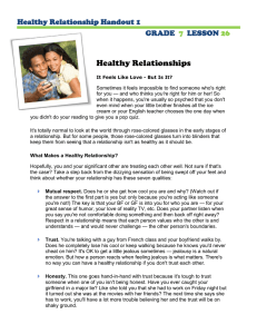 Healthy Relationships  Healthy Relationship Handout 1 GRADE