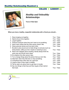 Healthy and Unhealthy Relationships  Healthy Relationship Handout 3