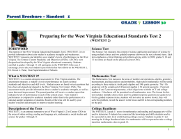 Preparing for the West Virginia Educational Standards Test 2  GRADE